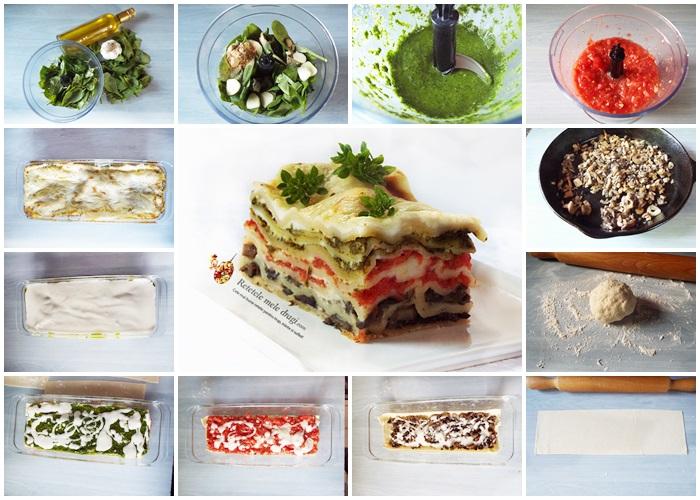 Lasagna in trei culori (de post) preparare