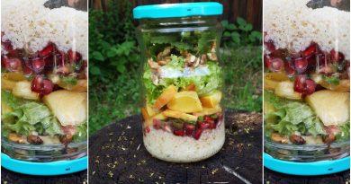 Salata la borcan cu piersici si cous cous