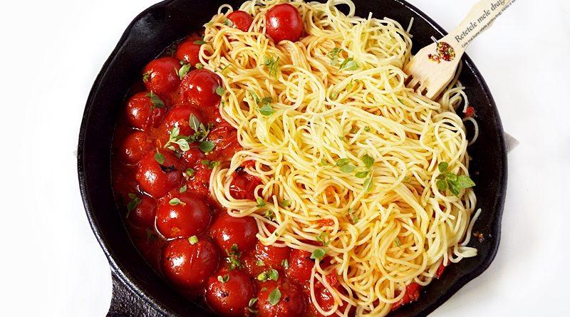 spaghete cu sos de rosii cherry si busuioc