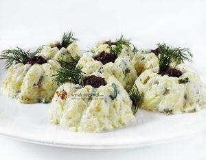 salata festiva de cartofi cu ciuperci si ou 1