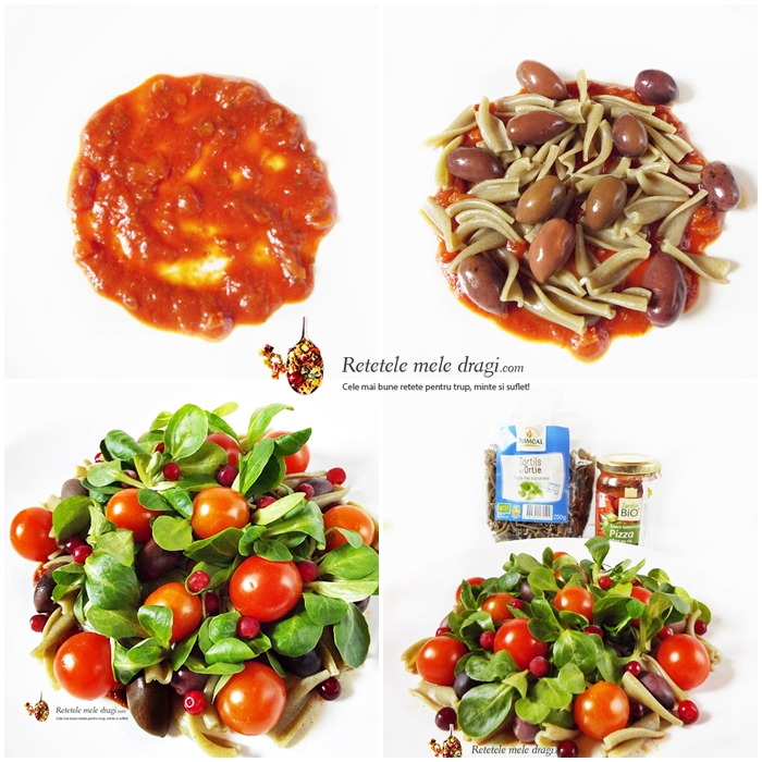 salata festiva de paste cu rosii si merisoare preparare