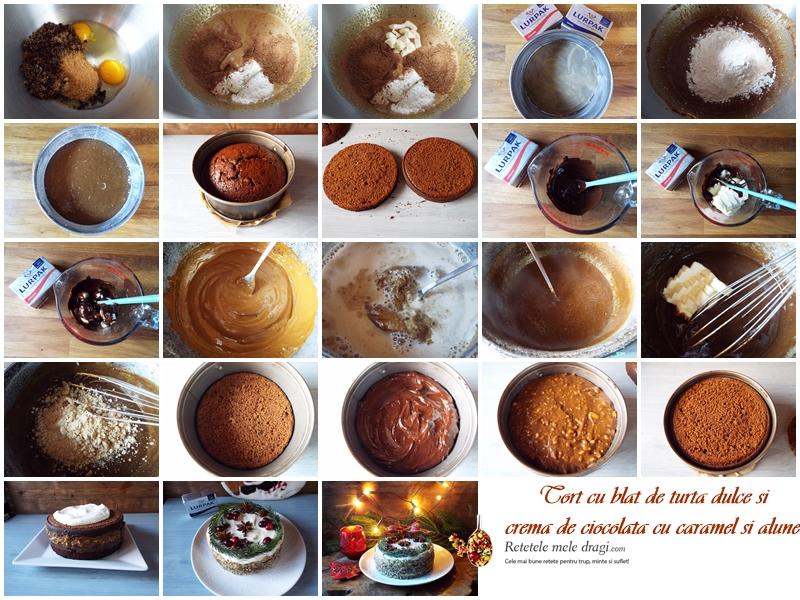Tort cu blat de turta dulce, crema de ciocolata si caramel cu alune preparare