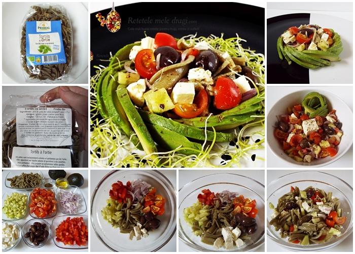 salata greceasca cu paste si avocado preparare