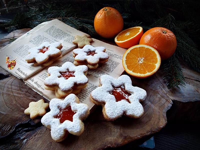 Fursecuri Linzer cu gem de portocale 1