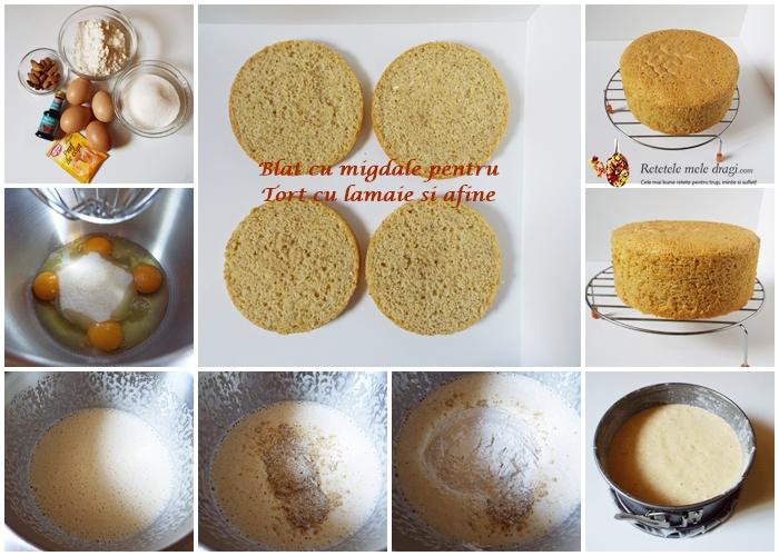 blat cu migdale pentru tort cu lamaie si afine
