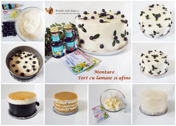 montare tort cu lamaie si afine