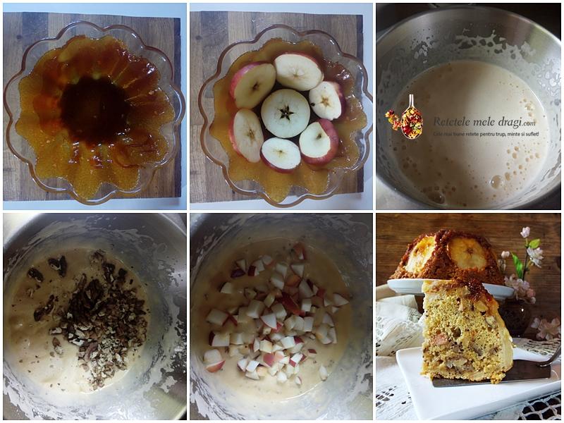 tort cu mere caramelizate si nuci 3