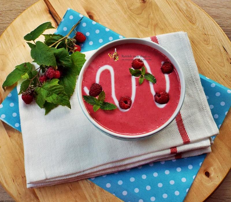 supa rece de zmeura (capsuni, visine, afine, mure, piersici, caise)