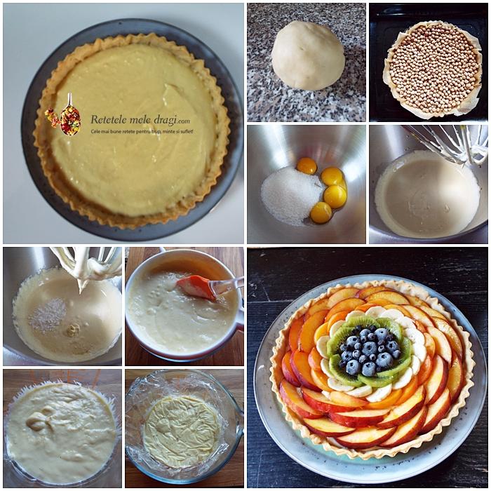 Tarta cu fructe si crema de vanilie preparare