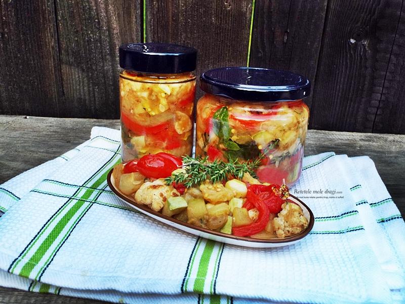 Salata de legume coapte la borcan pentru iarna