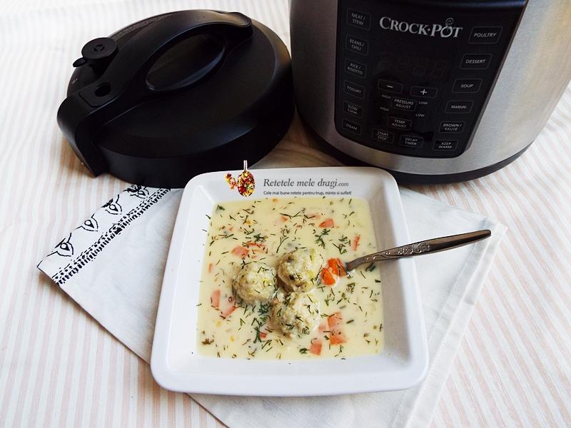 Ciorba cu perisoare de dovlecei a la grec gatita la Multicooker Crock-Pot Express 1