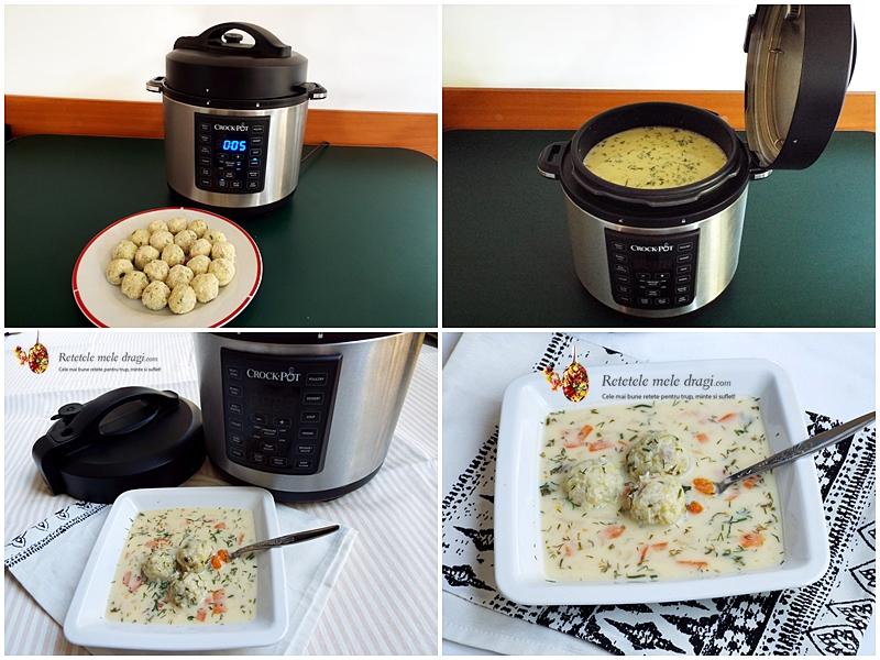 Ciorba cu perisoare de dovlecei a la grec gatita la Multicooker Crock-Pot Express preparare 4