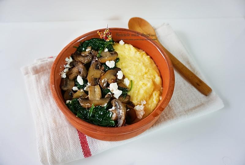 mamaliga cremoasa cu ciuperci si spanac 2