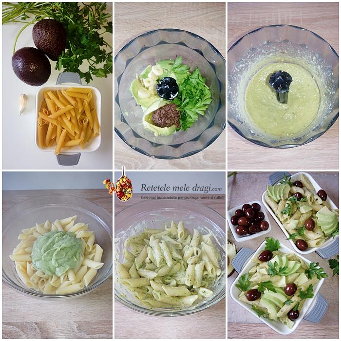 paste cu sos de avocado si masline preparare