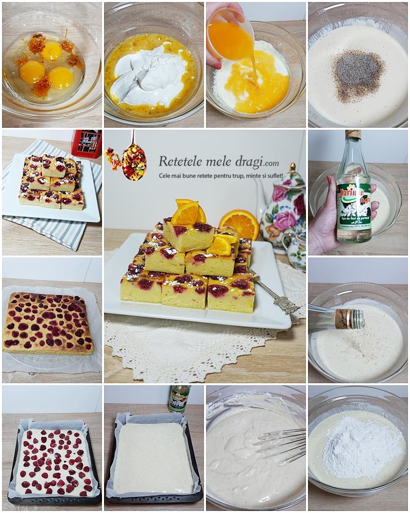 Prăjitură cu iaurt, portocale și zmeură 2