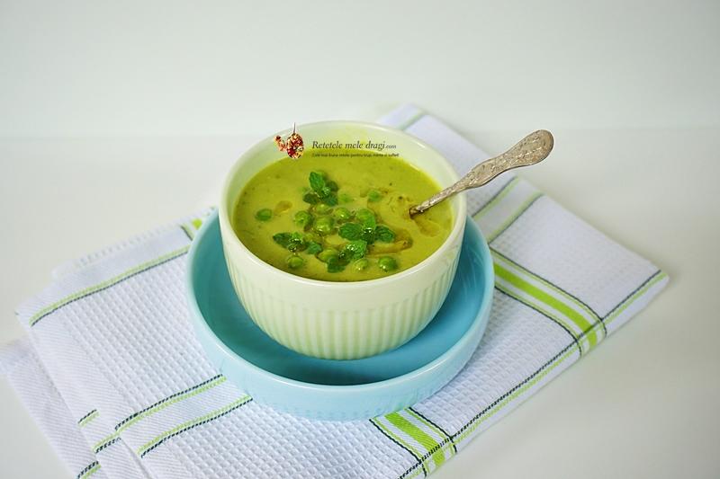 Supa crema de mazare cu menta si avocado 1