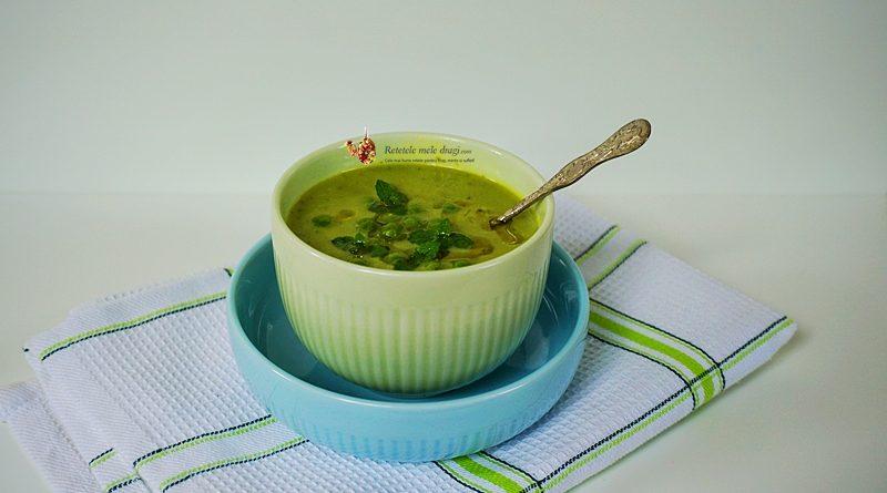 Supa crema de mazare cu menta si avocado