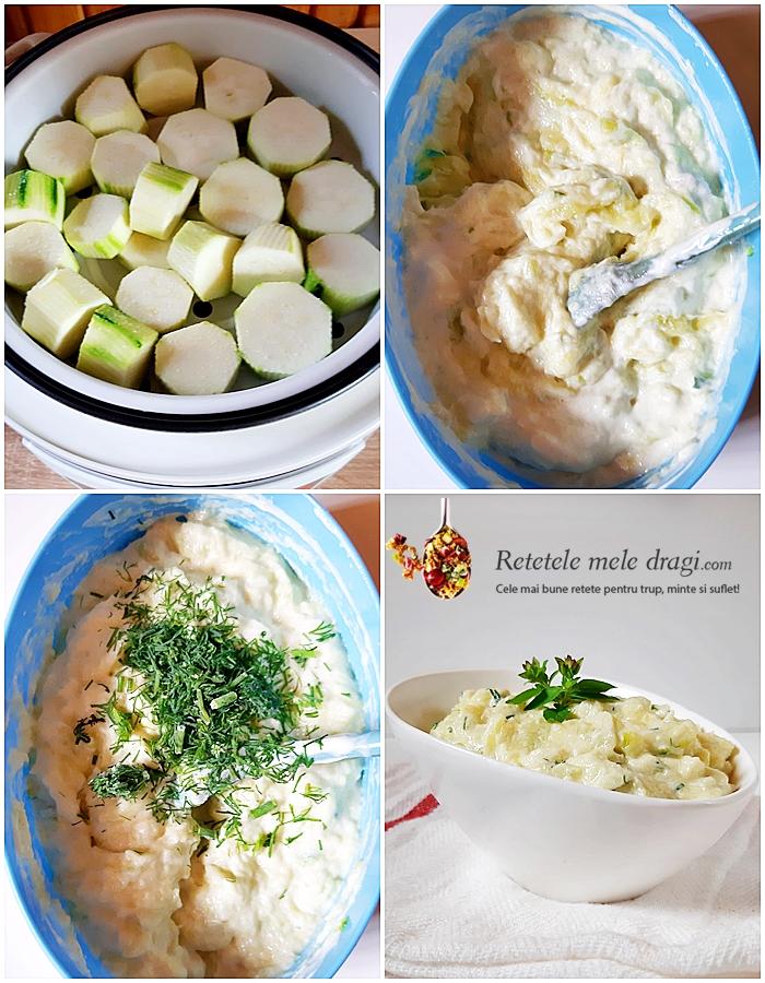 Salata de dovlecei cu iaurt si mustar preparare