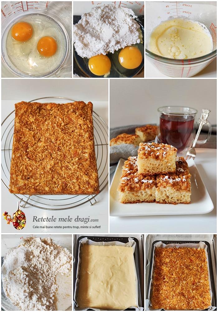 prajitura turnata cu mere preparare