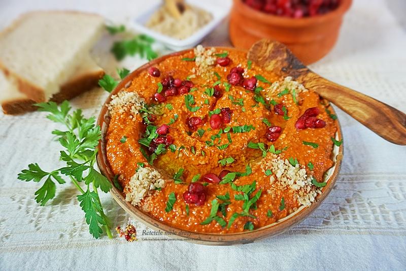 Muhhamara-pasta de ardei copt cu nuca in stil libanez