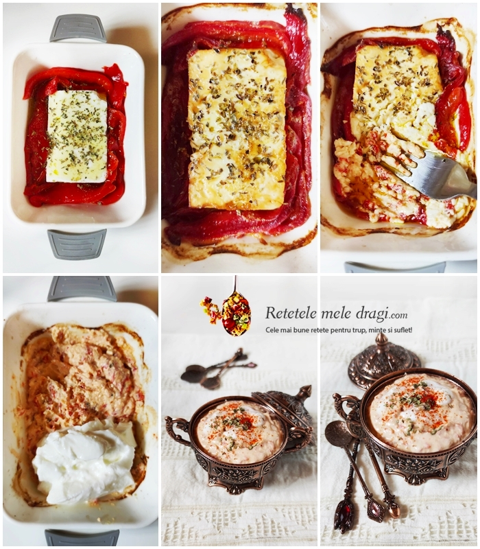 Preparare Cremă de brânză feta cu ardei copți