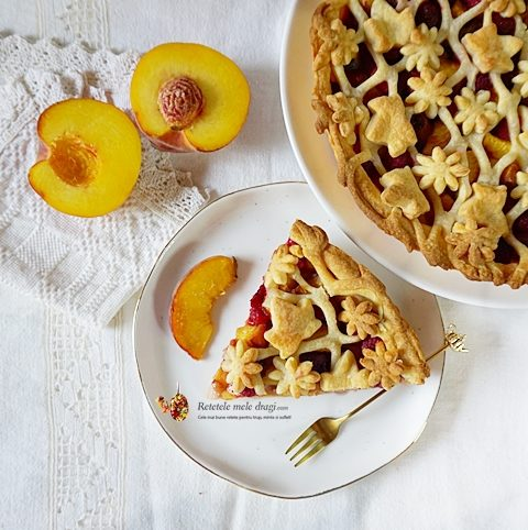 Tarta cu fructe si aluat fraged (piersici, zmeura) Blog cover